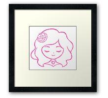 Cute Anime Girl - Rose Framed Print