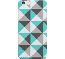 Teal Blue Charcoal Grey White Geometric Triangles Pattern  iPhone Case/Skin