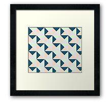 Navy Blue Mint Peach Lavender Geometric Triangles Pattern Framed Print