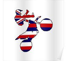 Hawaii flag dirt bike Poster