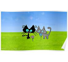 Cute Cats Smell Some Pretty Flowers Poster