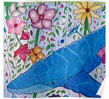 Whale in a ocean of flowers Poster