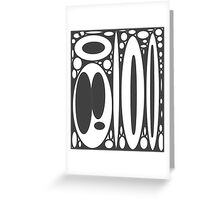 Retro black white ovals border pattern Greeting Card