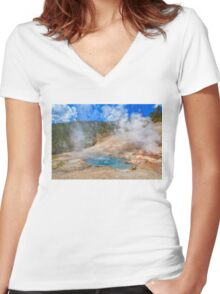 Geo Yellowstone Women's Fitted V-Neck T-Shirt