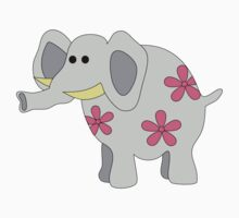 Gray elephant with pink flowers Kids Tee