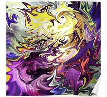 Magic Bird and Flower Abstract Poster
