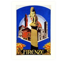 Florence Firenze 1920s Italian travel ad, lion column Art Print