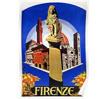 Florence Firenze 1920s Italian travel ad, lion column Poster