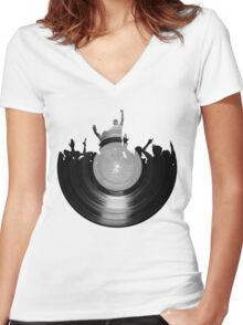 Vinyl music art 2 Women's Fitted V-Neck T-Shirt