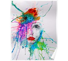 Abstract Watercolor Portrait Poster