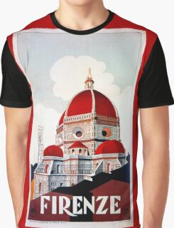Florence Firenze 1920s Italian travel ad, duomo Graphic T-Shirt