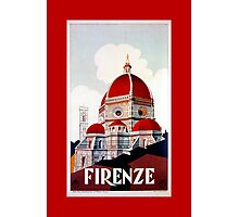Florence Firenze 1920s Italian travel ad, duomo Photographic Print