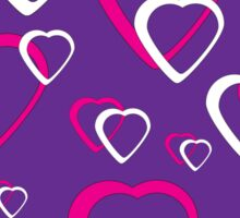 Pink and White Hearts Purple Background Sticker