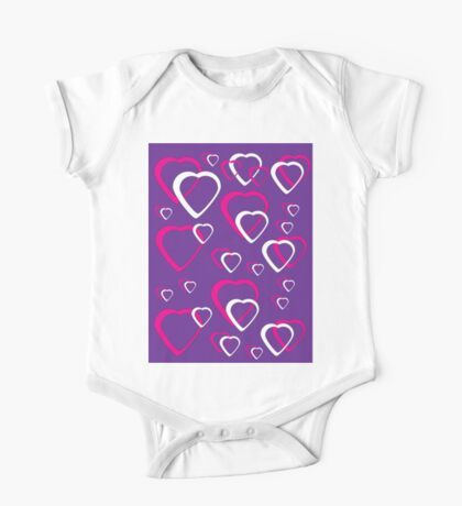 Pink and White Hearts Purple Background Kids Clothes