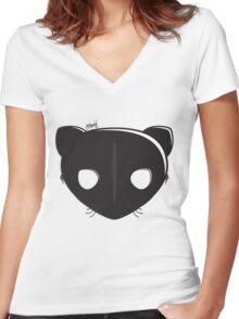 Cat Mask Women's Fitted V-Neck T-Shirt