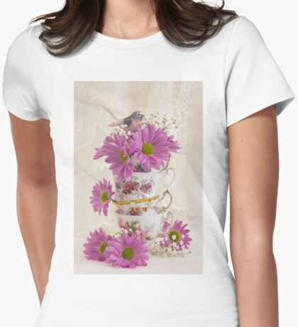 Tea Cups And Daisies  Womens Fitted T-Shirt