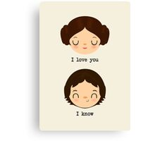 "Leia and Han Solo ""I love you"" ""I know"" - Star Wars Canvas Print"