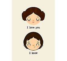 "Leia and Han Solo ""I love you"" ""I know"" - Star Wars Photographic Print"