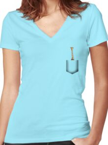 Giraffe pocket Women's Fitted V-Neck T-Shirt