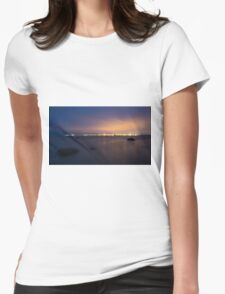 Harbor at night Womens Fitted T-Shirt