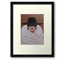 A LADY WRAPPED IN FUR Framed Print