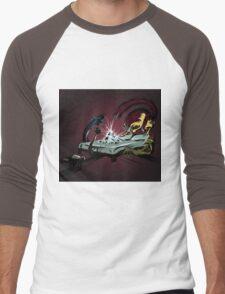 Scary monsters in dark room Men's Baseball ¾ T-Shirt