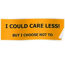 I Could Care Less! graphic Poster