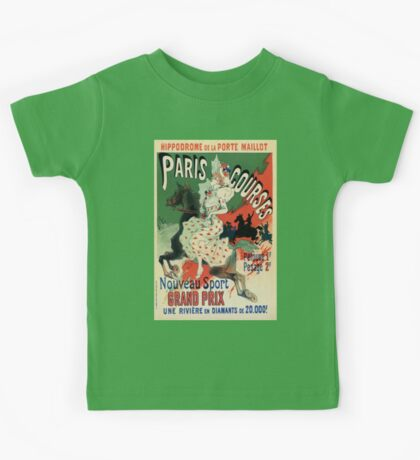 Paris horse races belle époque advert Jules Chéret Kids Tee