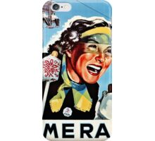 Vintage ski Mera Valsesia Italian travel female skier iPhone Case/Skin