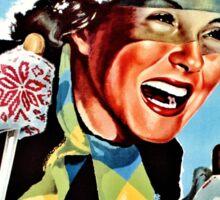 Vintage ski Mera Valsesia Italian travel female skier Sticker
