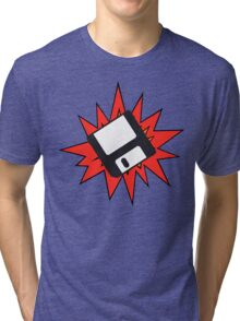 Dynamic Retro Floppy Disc old skool tech Tri-blend T-Shirt
