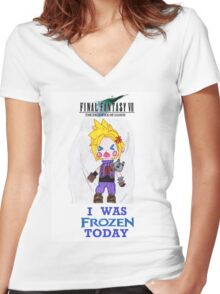 Final Fantasy VII The Sacrifice Of Cloud - I WAS FROZEN TODAY Women's Fitted V-Neck T-Shirt