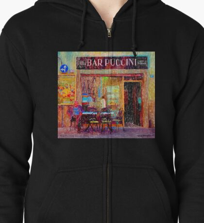 Bar Puccini, Lucca, Italy Zipped Hoodie