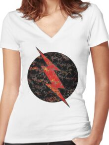 Reverse Flash - DC Spray Paint Women's Fitted V-Neck T-Shirt