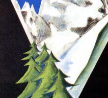 The Valley of Aosta Italian Alps travel poster, art deco Sticker