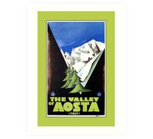 The Valley of Aosta Italian Alps travel poster, art deco Art Print