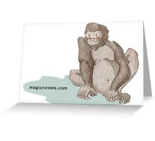 Magic Novels Sitting Gorilla Greeting Card