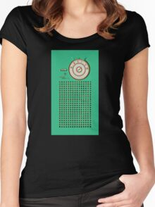 Retro geek Gumby green Transistor Radio design Women's Fitted Scoop T-Shirt