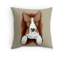 Tricolour English Bull Terrier  Throw Pillow