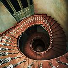 Spiral staircase in red and brown tones by JBlaminsky