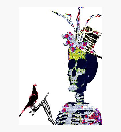Skeleton fascinator and the Dying Post  Photographic Print