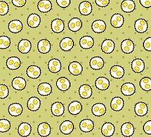 Kawaii Pixel Sunny Side Up Eggs by pidesignprints