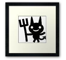 Cute Happy Devil with Pitchfork Framed Print