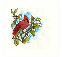 Northern Cardinal Watercolor Art Print