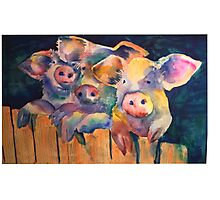 Waiting for Wolfie 3 Pigs Watercolor Photographic Print