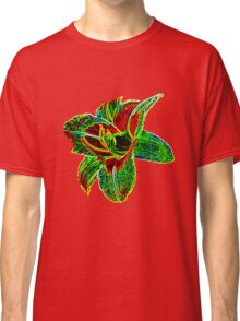 Red and Green Neon Daylily Classic T-Shirt