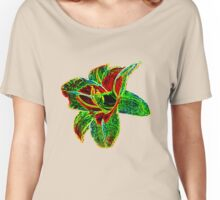 Red and Green Neon Daylily Women's Relaxed Fit T-Shirt