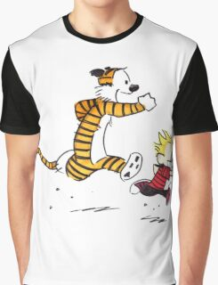 Calvin And Hobbes runner time Graphic T-Shirt