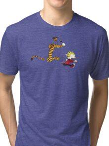 Calvin And Hobbes runner time Tri-blend T-Shirt