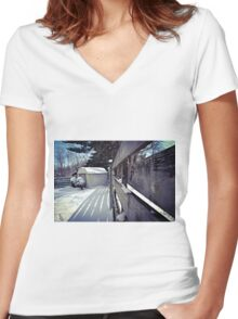 Snowy Shed Women's Fitted V-Neck T-Shirt